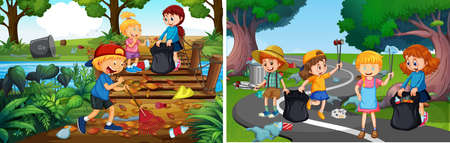 A Set of Responsible Volunteer Kids illustration Иллюстрация