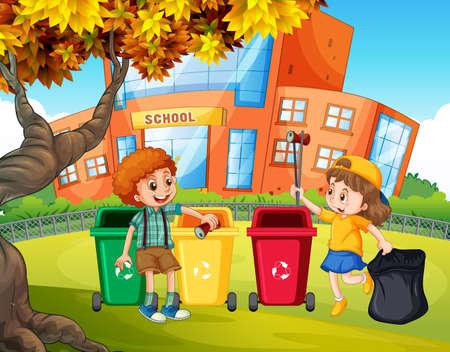 Illustratie leerlingen sorteren van de prullenbak