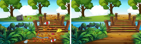 Comparison of Dirty and Clean Forest illustration Foto de archivo - 114980713