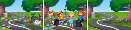 Children Help Cleaning the Road illustration