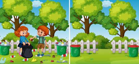 Before and After Kids Cleaning Park illustration Ilustração