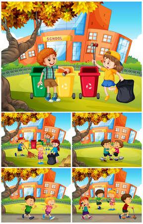A Set of School Students illustration