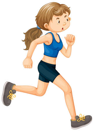A Woman Running on White Background illustration Vetores