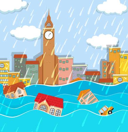 Eine Überschwemmung in der Großstadt Abbildung Vektorgrafik