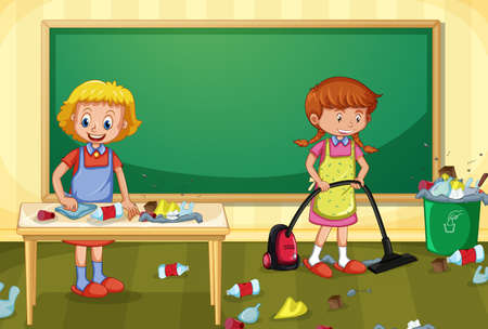 Maid Cleaning Dirty Classroom illustration