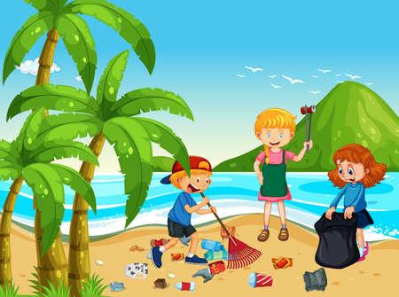 Un gruppo di bambini volontari che puliscono l'illustrazione della spiaggia Vettoriali