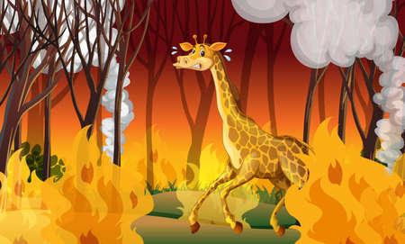 Giraffe Running Away From Firewild illustration