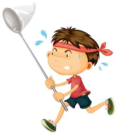 Niño corriendo con ilustración de red de insectos Ilustración de vector