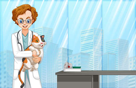 Vet and Cat at Hospital illustration Illusztráció