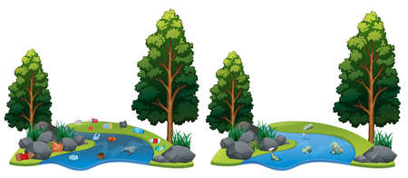 Comparison Between Dirty and Clean River Side illustration