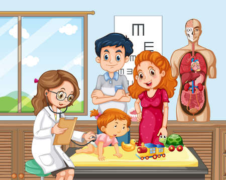 Baby Check up with Doctor illustration Vetores