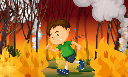 A Boy Stuck in Wildfire illustration