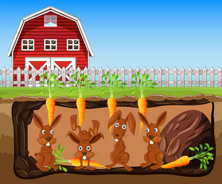 Rabbit Living Underground Farm illustration