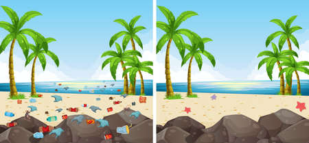 Beach scene pollution and cleaned illustration