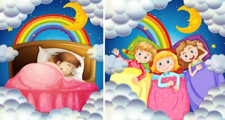 A Set of Girl Bedtime illustration Иллюстрация