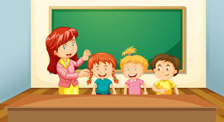 Teacher and Students in the Classroom illustration Ilustração