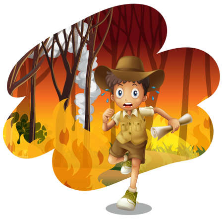 Forest Explorer Running from Wildfire illustration Stock Illustratie