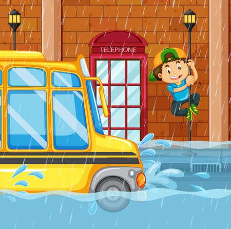 Flooding in Big City illustration