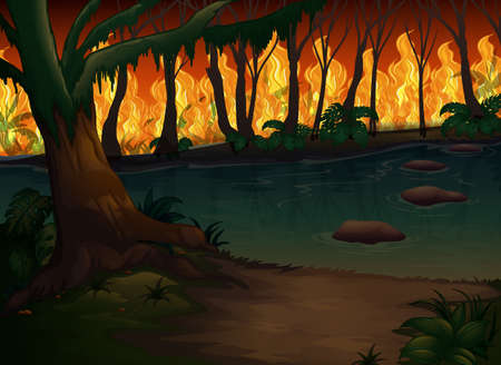 A Forest with Wildfire Disaster  illustration