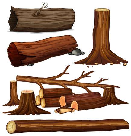 A Set of Tree Wood illustration Vector Illustration