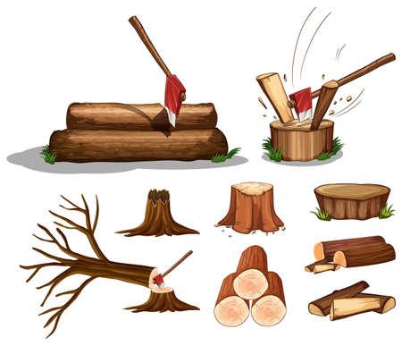 A Set of Tree and Wood illustration Vektorové ilustrace