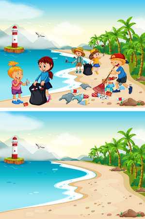 Before and After Beach Cleaning illustration
