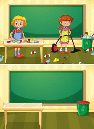 Janitor Cleaning Dirty Classroom illustration Ilustração