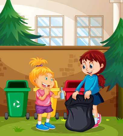 Children Sorting the Waste illustration  イラスト・ベクター素材