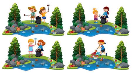 A Set of Children Cleaning River illustration Ilustração