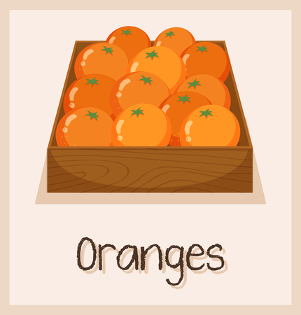 Oranges in the box for sale illustration