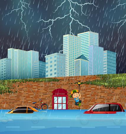 Flash flood in big city illustration