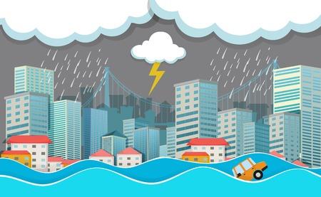 An urban city under flood illustration
