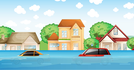 A flood in the village illustration Illustration