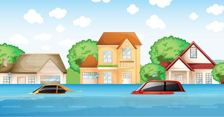 Une inondation dans l'illustration du village Vecteurs