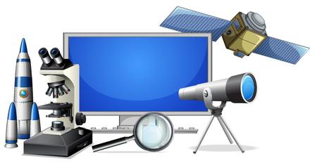 A set of science research equipments illustration Ilustración de vector