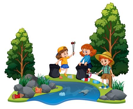 Kinderen die vrijwilligerswerk doen om rivierillustratie op te ruimen