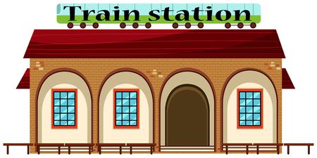 Train station on white background illustration