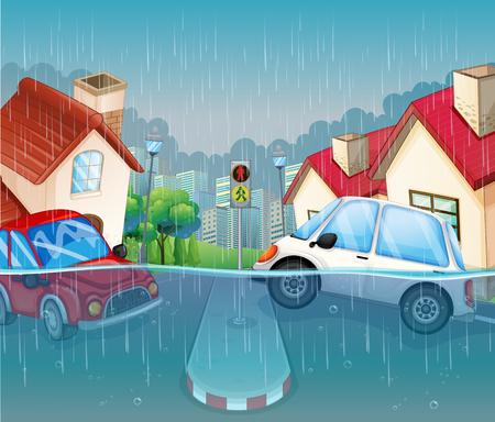 A flood in the village illustration Ilustração