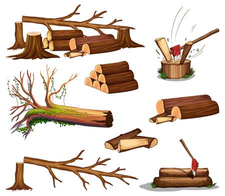 A set of wood cut illustration