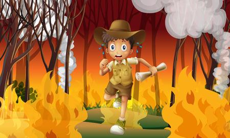 Forest explorer run awat from wildfire illustration