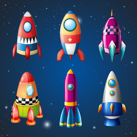 A set of rockets on sky illustration