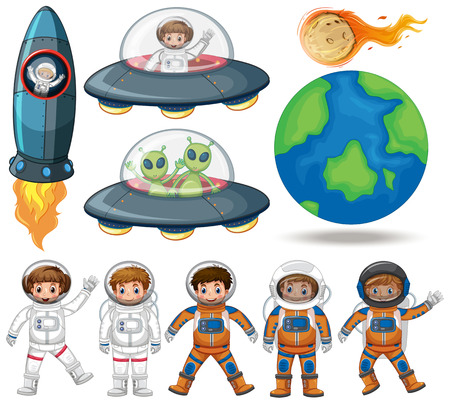 Space, astronaut and ufo collection illustration