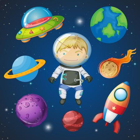 An astronaut on space illustration