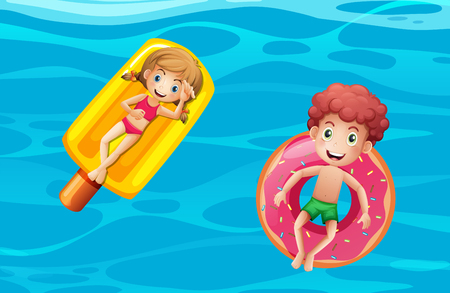 Children on pool floats illustration