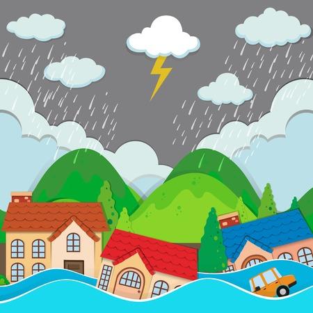 Una ciudad urbana bajo la ilustración de las inundaciones. Ilustración de vector