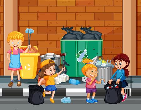 Les enfants se portent volontaires pour nettoyer l'illustration de la ville Vecteurs