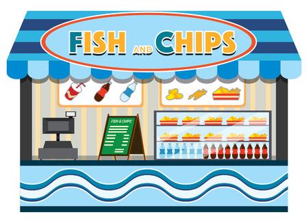 Ilustración de la tienda de pescado y patatas fritas
