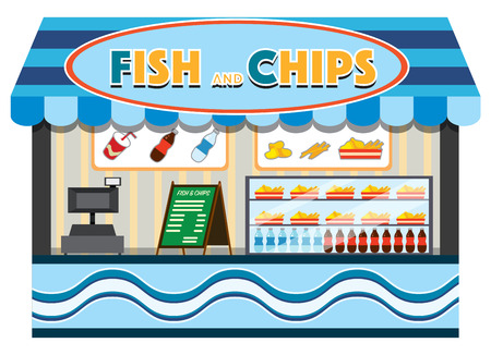 Fish and chips shop illustration
