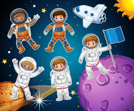 A set of astronaut in space illustration