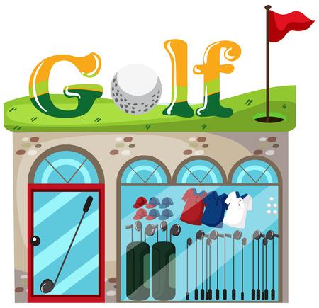 A golf shop on white background illustration